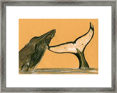 Humpback Whale Painting Framed Print by Juan  Bosco