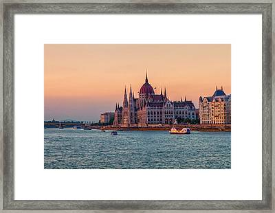 Hungarian Parliament Building In Budapest, Hungary Framed Print by Elenarts - Elena Duvernay photo