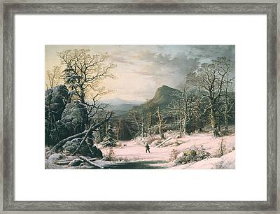 Hunter In Winter Wood  Framed Print