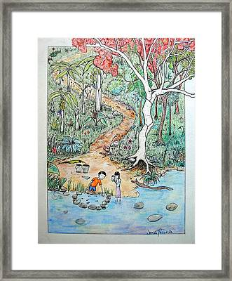 Framed Print featuring the painting Hunting For Tadpoles by Josean Rivera
