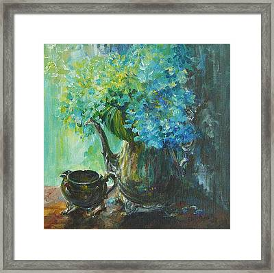 Framed Print featuring the painting Hydrangea 2 by Gloria Turner