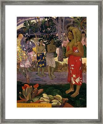 Ia Orana Maria Hail Mary Framed Print by Paul Gauguin
