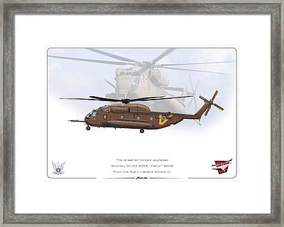 Framed Print featuring the drawing Iaf Sikorsky Ch 53 2025 by Amos Dor