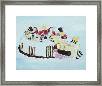 Ice Cream Cake Oil On Canvas Framed Print