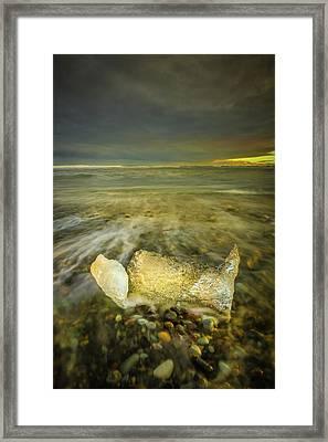Ice In Surf At Dusk. Framed Print