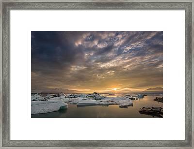 Icebergs On The Jokulsarlon Glacial Framed Print