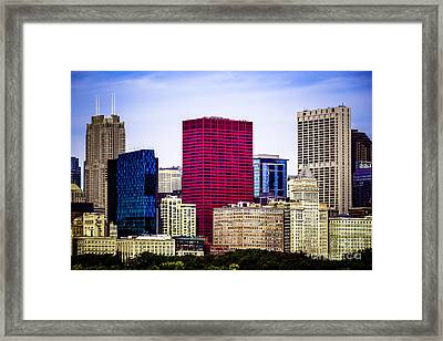 Image Of Downtown Chicago City Office Buildings Framed Print by Paul Velgos