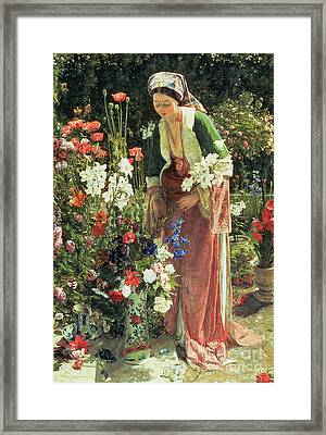 In The Bey's Garden Framed Print by John Frederick Lewis