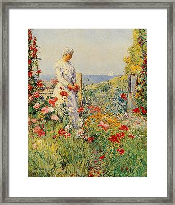 In The Garden Framed Print by Childe Hassam
