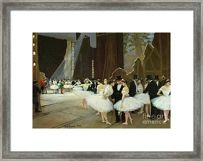 In The Wings At The Opera House Framed Print by Jean Beraud