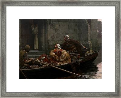 In Time Of Peril Framed Print by Edmund Leighton