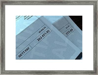 Income Inequality Paychecks Framed Print