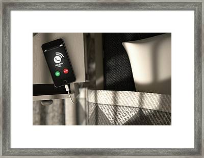 Incoming Call Cellphone Next To Bed Framed Print by Allan Swart