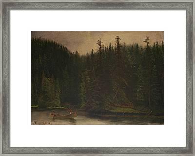 Indian Hunters In Canoe Framed Print by Albert Bierstadt