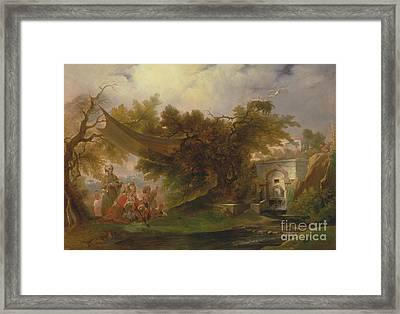 Indian Landscape With Figures Near A Stream Framed Print by Celestial Images