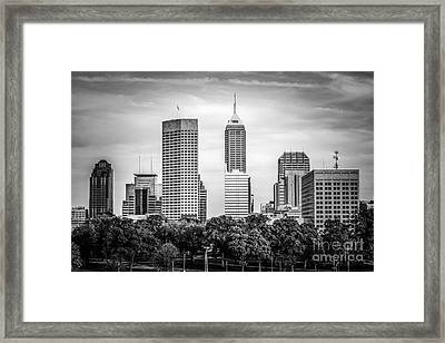 Indianapolis Skyline Black And White Picture Framed Print
