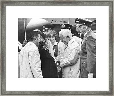 Indira Gandhi At Jfk Airport Framed Print by Underwood Archives