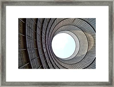 Industrial Decay Inside Cooling Tower Of Electrical Power Plant  Framed Print