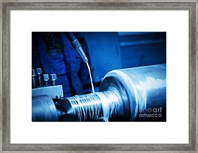 Industrial Turning Machine At Work Close-up Framed Print by Michal Bednarek