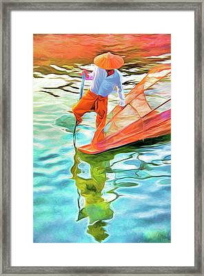Inle Lake Leg-rower Framed Print by Dennis Cox
