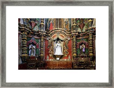 Interior Statue - San Xavier Mission - Tucson Arizona Framed Print by Jon Berghoff