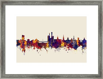 Iowa City Iowa Skyline Framed Print by Michael Tompsett