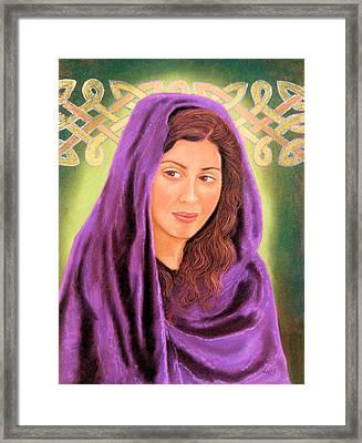 Framed Print featuring the pastel Irish Maiden by Jan Amiss