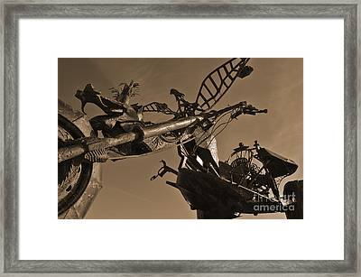 Iron Motorcycle Sculpture In Faro Framed Print