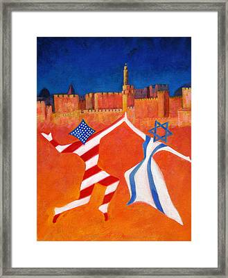 Israel And Usa Dancing Framed Print by Jane  Simonson