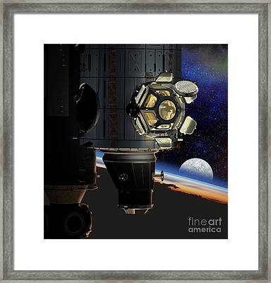 Iss Viewing Portal, Artwork Framed Print by David Ducros