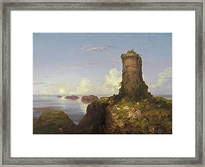 Italian Coast Scene With Ruined Tower Framed Print