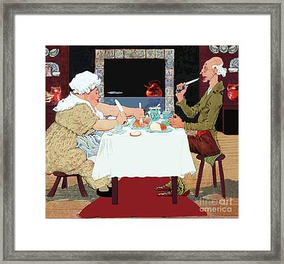 Framed Print featuring the painting Jack Sprat Vintage Mother Goose Nursery Rhyme by Marian Cates