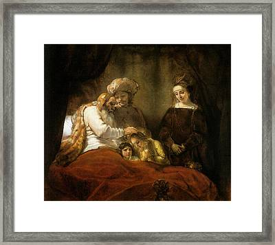Jacob Blessing The Sons Of Joseph Framed Print by Rembrandt van Rijn