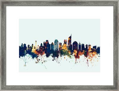 Jakarta Skyline Indonesia Bombay Framed Print