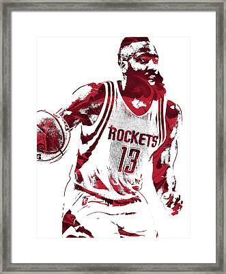 James Harden Houston Rockets Pixel Art 2 Framed Print