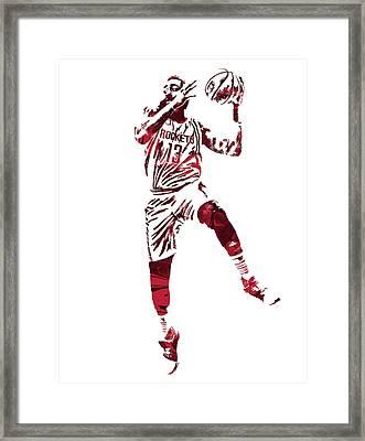James Harden Houston Rockets Pixel Art 6 Framed Print