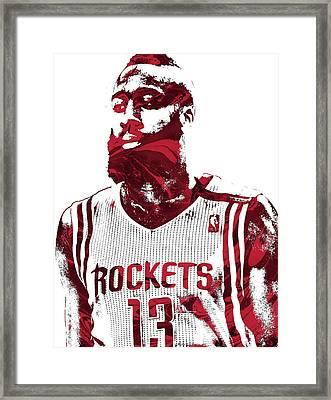 James Harden Houston Rockets Pixel Art  Framed Print
