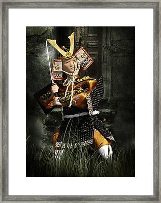 Japanese Samurai Doll Framed Print