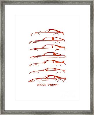 Japanese Sports Car Silhouettehistory Framed Print