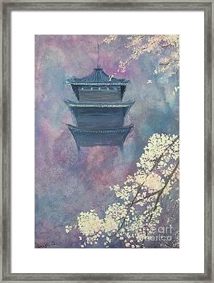 Japanese Spring Scene Framed Print by Lizzy Forrester