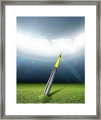 Javelin In Generic Floodlit Stadium Framed Print