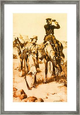J.c. Fremont And His Guide, Kit Carson Framed Print