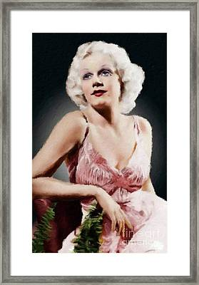 Jean Harlow Vintage Hollywood Actress Framed Print by Mary Bassett