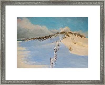 Framed Print featuring the painting Jersey Dunes by Ken Ahlering