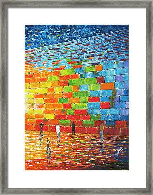 Framed Print featuring the painting Jerusalem Wailing Wall Original Acrylic Palette Knife Painting by Georgeta Blanaru