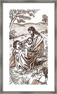 Jesus And The Children Framed Print by Norma Boeckler