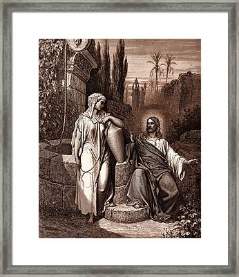 Jesus And The Woman Of Samaria Framed Print by Gustave Dore