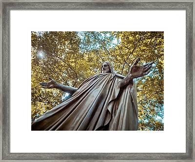 Jesus In Bronze Framed Print by Linda Unger
