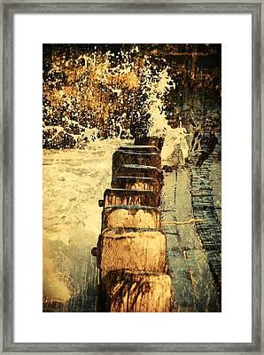 Jetty Vs Sea - Jersey Shore Framed Print by Angie Tirado