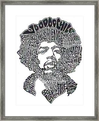Jimi Hendrix Black And White Word Portrait Framed Print by Kato Smock